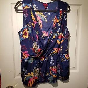 Merona surplice wrap sleeveless top xxl floral